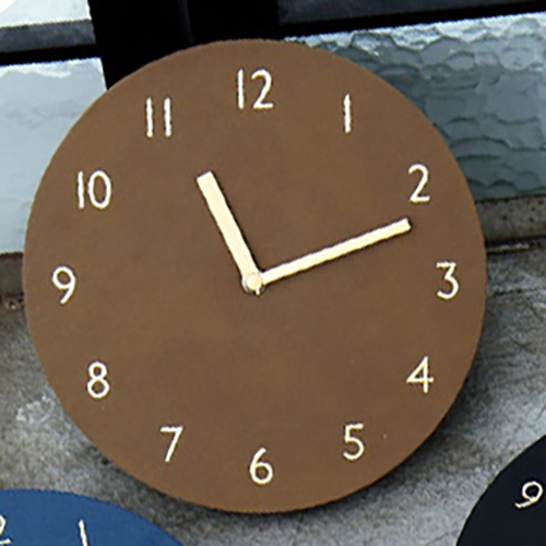 Часы 'Sandwich Clock Retro Leather' - Brown
