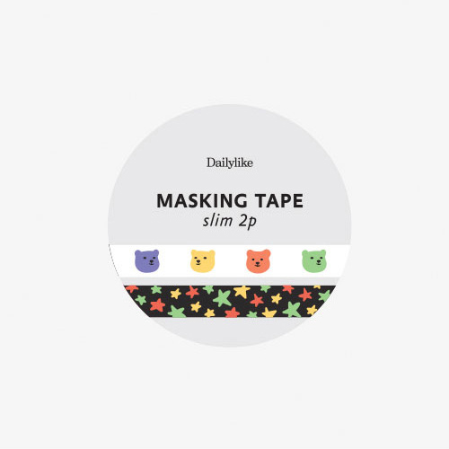 Скотч декоративный 'Masking Tape Slim 2p' - 13 Jelly Bear